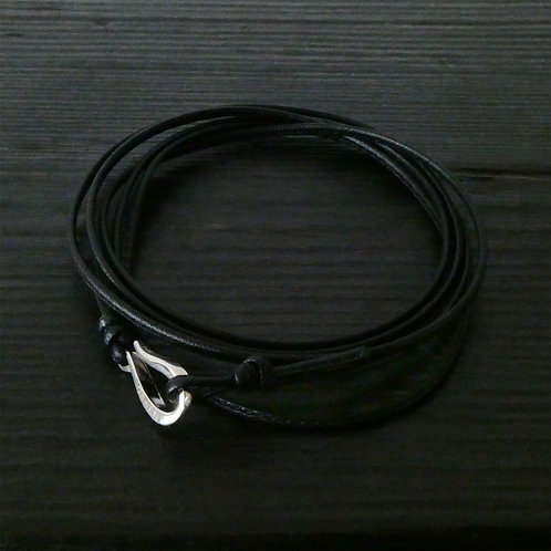 Bracelet cordon cuir noir fin et crochet argent 925