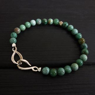 """Bracelet perles jaspe vert 6mm et fermoir """"infini"""" argent 925"""