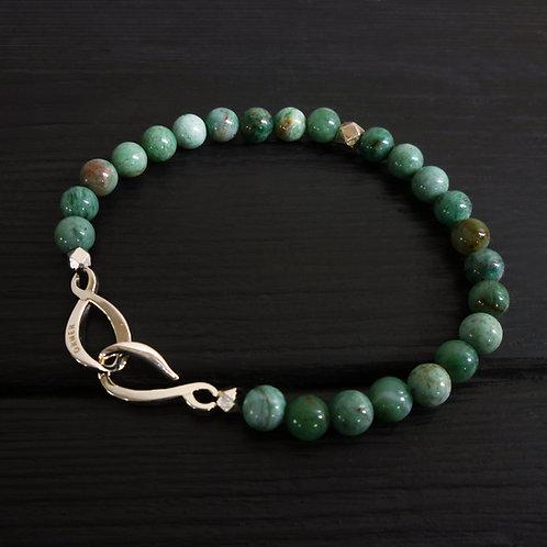 """Bracelet perles jaspe vert et fermoir """"Infini"""""""