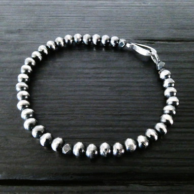 """Hook"" clasp and oxidised silver beads"