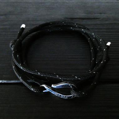Cordon alpin noir et Crochet Orner argent 925