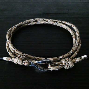 """Beige alpine cord and """"hook"""" Orner clasp in sterling silver"""