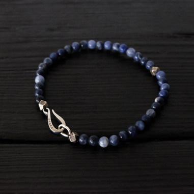 Perles Sodalite et fermoir Orner argent 925