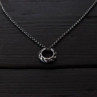 Collier anneau cordage argent 925 patiné
