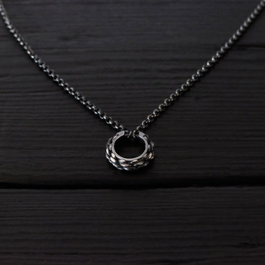 """""""Cordage"""" ring necklace, oxidized sterling silver"""