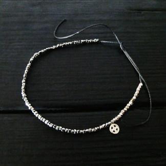 Bracelet perles de verre métalisées irrégulières