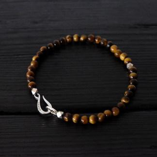 "Tiger eye quartz beads bracelet and silver ""hook"""
