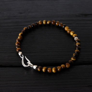 "Tiger eye bracelet and ""Hook"" clasp in sterling silver"