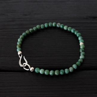 """Green Jasper pearl bracelet and silver """"Hook"""""""