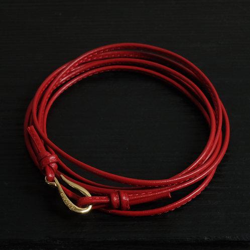 Bracelet cordon cuir rouge fin et crochet vermeil