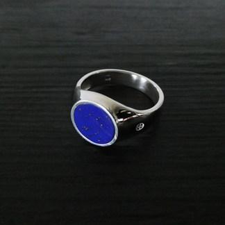 Chevalière Argent et Lapis lazuli