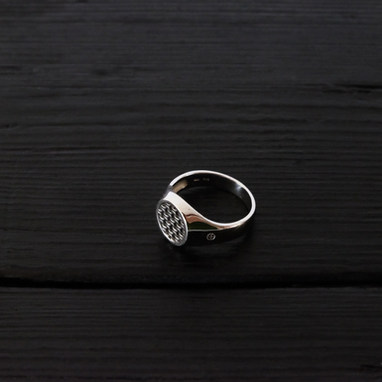 """""""Chain"""" signet ring, sterling silver"""