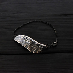 Patinated 925 silver scarab wing bracelet