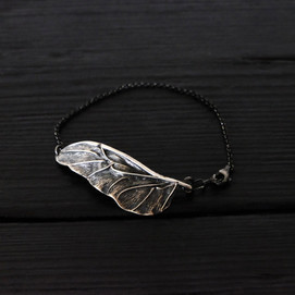 Scarab wing bracelet, oxidized sterling silver