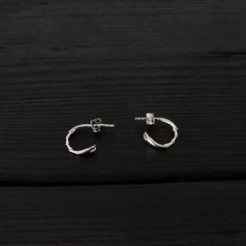 Scarab legs loops earrings, sterling silver