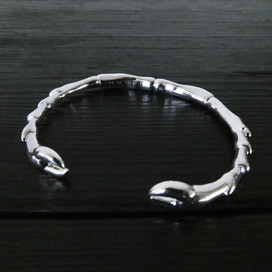 Scarab legs bangle bracelet, sterling silver