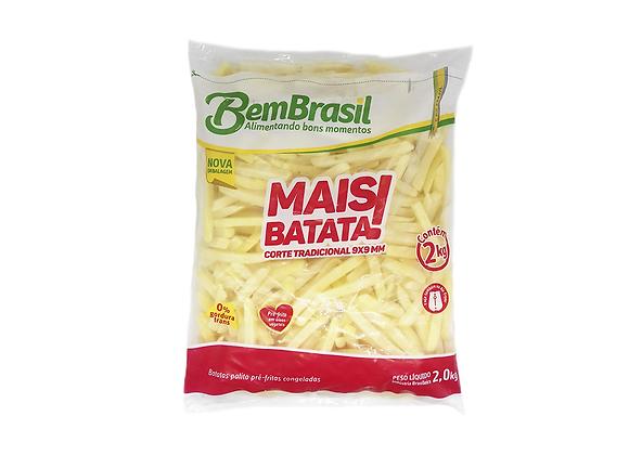 BATATAS PALITO CONGELADAS PRÉ-FRITAS 9 MM CORTE TRADICIONAL MAIS BATATA BEM BRAS