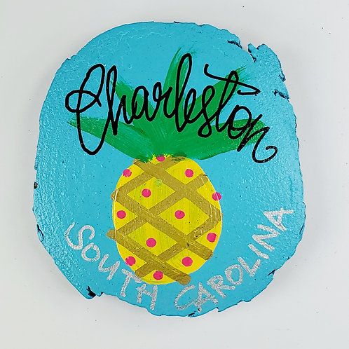 Pineapple on Aquamarine Blue Wooden Magnet