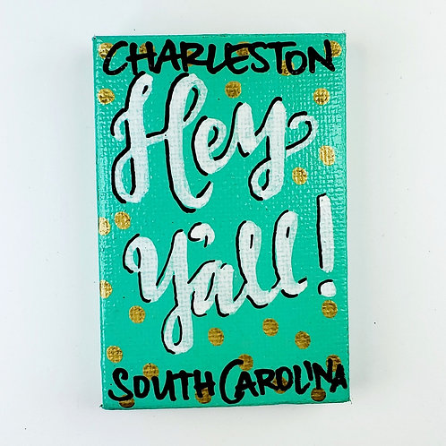 Hey Y'all on Emerald with Gold Dots Canvas Magnet
