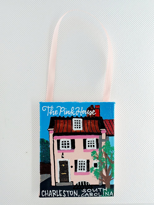 The Pink House Canvas Ornament