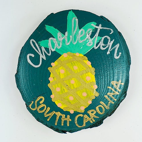 Pineapple on Forrest Green Wooden Magnet
