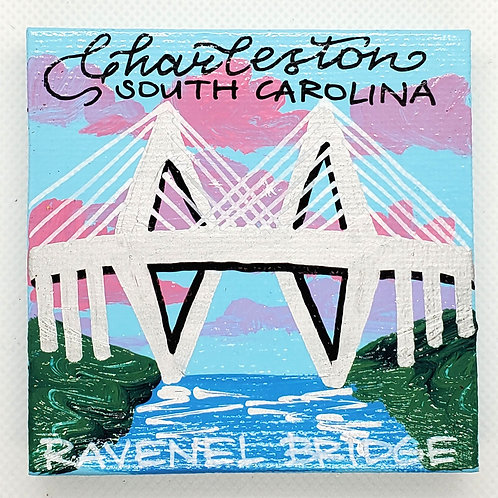 Ravenel Bridge Daytime Canvas Magnet