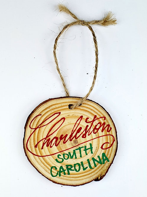 Red and Green Wooden Ornament