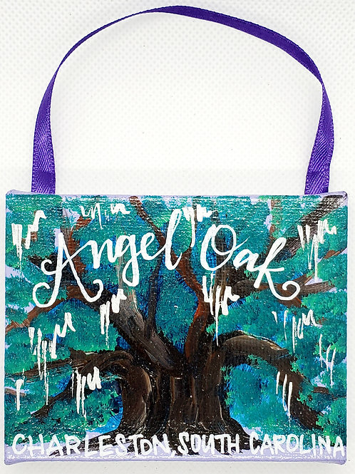 Angel Oak on Lavendar Canvas Ornament
