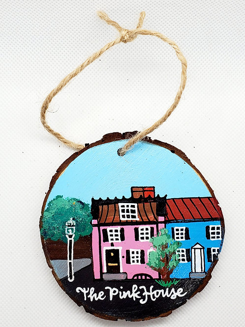 The Pink House wooden ornament