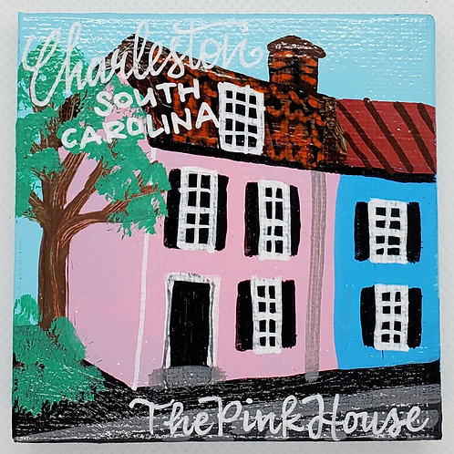 The Pink House Corner Canvas Magnet