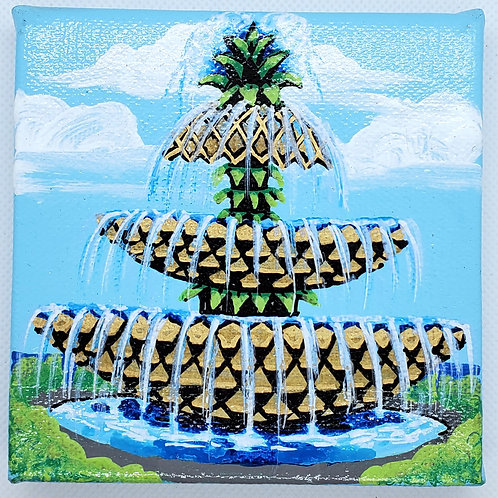 Pineapple Fountain Flowing