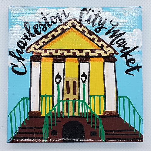 Charleston City Market Daytime Canvas Magnet