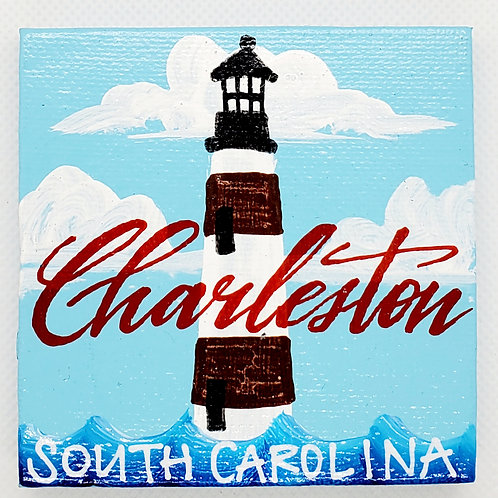 Charleston Daytime Lighthouse Canvas Magnet