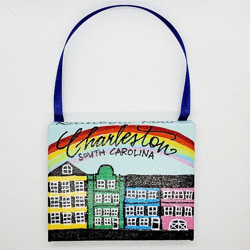 Rainbow Row with Rainbow on Sky Blue Canvas Ornament