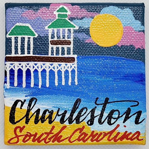 Beach Pier Canvas Magnet