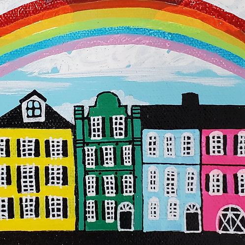 Rainbow Over Rainbow Row on Baby Blue Sky