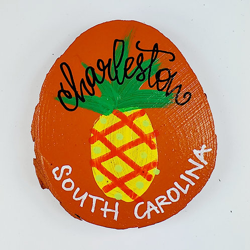 Pineapple on Orange Wooden Magnet