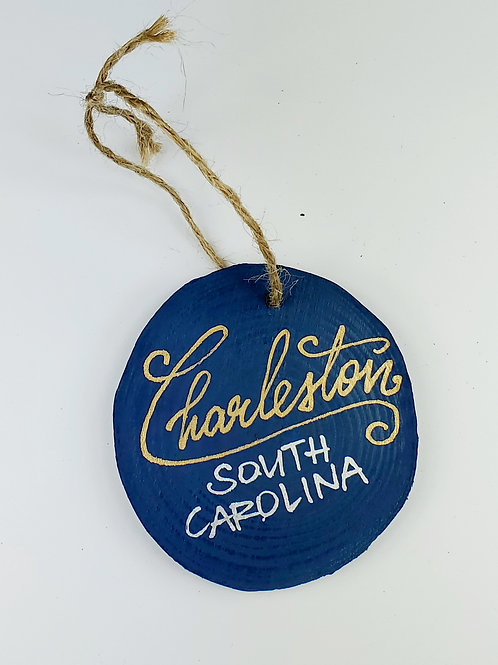 Gold and Silver Charleston on Blue Wooden Ornament
