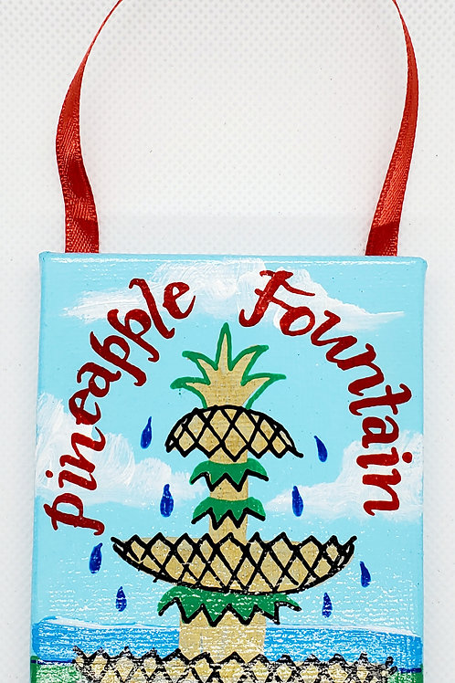 Pineapple Fountain Canvas Ornament