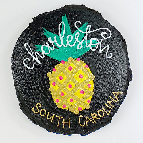 Pineapple on Black Wooden Magnet