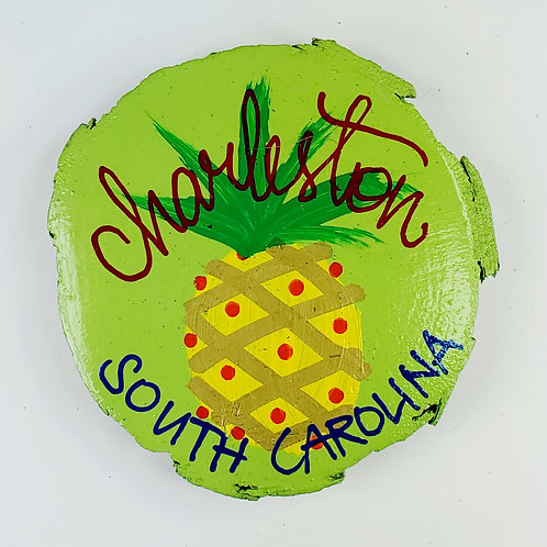 Pineapple on Lime Green Wooden Magnet