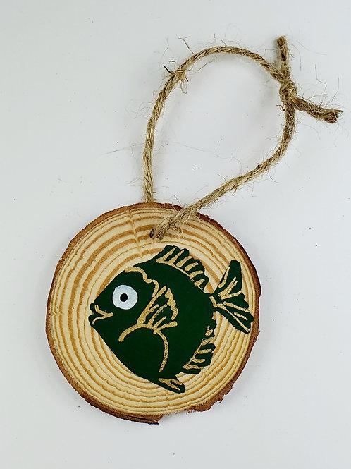 Green Fish Wooden Ornament