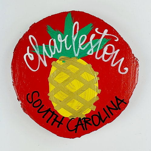 Pineapple on Red Wooden Magnet