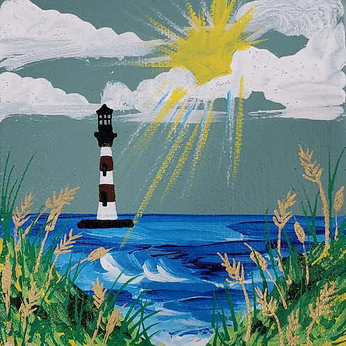 Lighthouse on Green Sky