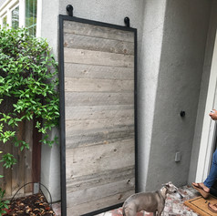 reclaimed wood with a metal frame