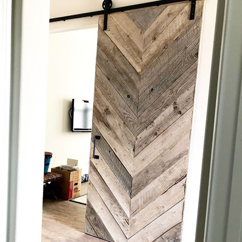 Reclaimed barn wood herringbone