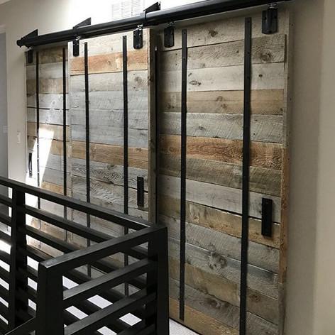 Reclaimed wood sliding closet doors inst