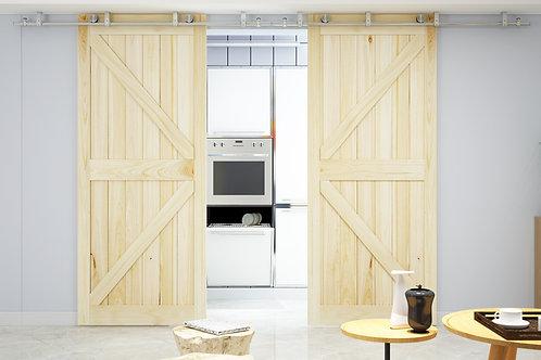Stainless Steel Ceiling Mount Sliding Barn Door Double Bi-Parting Track Kit
