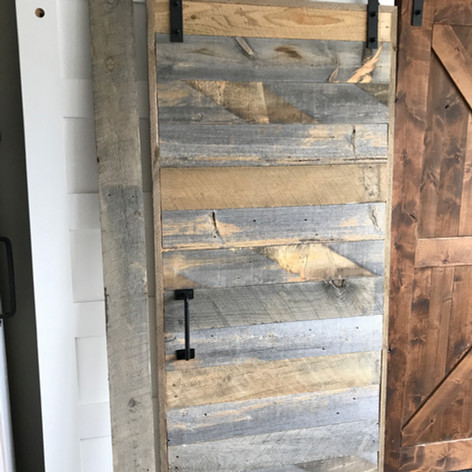 reclaimed wood trestles door