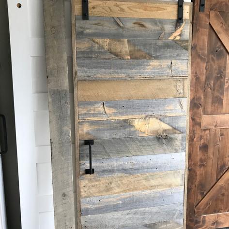 reclaimed wood trestles door
